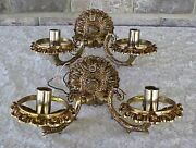 Vintage Brass Wall Sconces Double Arm Light Fixtures 2 Victorian No Shades