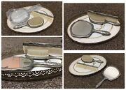 Vintage Vanity Gromming Set - Silver Hair Brush Mirror Comb W/ Glass Top Tray