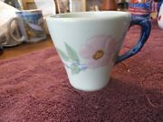 Rare Franciscan Twilight Rose Cocoa Coffee Mug Green Background With Blue Handle