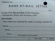 C. 1930's Crocker First National Bank San Francisco Bank By Mail Letter Book