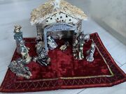 """Vintage Blue Sky Clayworks Heather Goldminc Nativity With Stable 3-6"""" Figurines"""