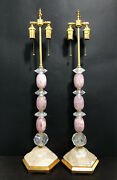 Natural Pink Rock Crystal Chandelier Parts Pendants Modern Style Lamp H 33 W8