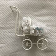 Vintage White Wicker Doll Pram Stroller Carriage Cart Buggy Rolls Lacy Insert