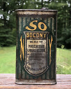 Early Cool Socony Matchless Liquid Gloss Standard Oil Co. Ton Can Gas Station
