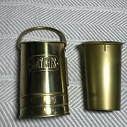 Vintage Goldtone Mid Century Fireplace Matches Bucket Caddy