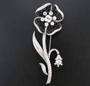 Rose Half-moon Black Jades With Sparkling White Cz 18.95tcw Flower Brooch Pin