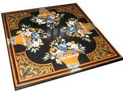 Antique Work Marble Kitchen Table Top Black Coffee Table For Home 30 X 30 Inches