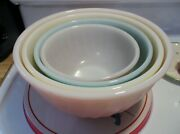 Vintage Fire King Rainbow Set Of Mixing Bowl In Excellent Condition