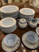 Wedgewood Embossed Blue Queens Ware Set - Service For 12
