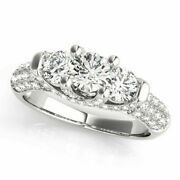 Christmas Gift 1.36 Ct Real Diamond Wedding Rings Solid 14k White Gold Size N P