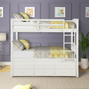Gfd Home - Twin Over Twin Wood Bunk Bed With Trundle And Drawers White - Sm0...