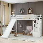 Gfd Home - Twin Size Loft Bed With Storage And Slide White - Sm000108aak