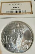 2002 1 American Silver Eagle - Ngc Ms 69