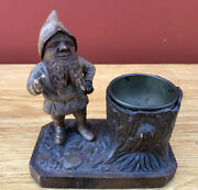 Antique Black Forest Carved Wood Gnome Smokers Stand / Ash Tray