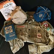 Vintage 50's Boy Scout Cub Scout Cub Master Lot, Shirt, Hat, Book And Cook Kit Lot