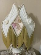 Beige And Gold Victorian Fringed Fabric Lamp Shades Pair