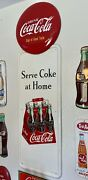 Vintage 40's Coca Cola Old Wooden 6 Pack Drink Pilaster W/ Button Sign