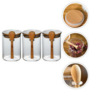 3pcs Sugar Cans Transparent Glass Dried Fruit Bottles Food Containers