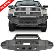 Front Bumper W/ Winch Plate And Led Light Bar White For 10-18 Dodge Ram 2500 3500