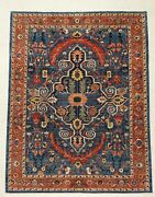 9 X 12 Hand Knotted Hand-spun Wool Vegetable Dyes Navy Rust Tribal Oriental Rug
