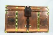 Steamer Trunk Table - Copper Leather Storage Box Table