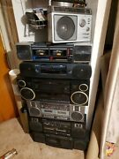 Lot Of 7 Vintage Boomboxes Sony Crown Panasonic Jvc Ge Ghettoblasters