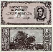 Hungary 1,000,000 B Pengo Banknote World Paper Money Aunc/xf Currency Pick P134