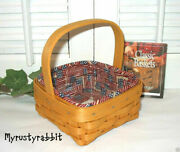 Longaberger 2001 Tarragon Booking Basket And Old Glory Liner And Prot Patriotic