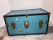 """18.5x11x10"""" Vintage 1940's Blue Steamer Doll Trunk Carrying Case Box Metal"""