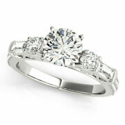 Real Round Cut 1.67 Ct Diamond Engagement Ring 14k White Gold Size 6.5 7 8 9