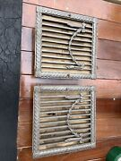 2 Antique Ornate Metal Wall Grate Heat Vent Cover Register New Old Stock