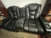 Faux Leather Black Reclinable Electric Black Sofa Used