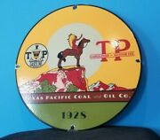 Vintage Texas Pacific Coal Oil Porcelain Horse And Indian Chief Teepee Gas Sign