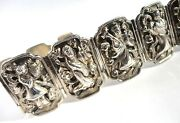 Vintage/antique/chinese/china/asian Immortals Repousse Sterling Silver Bracelet