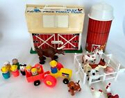 Vintage 1967 Fisher Price 915 Little People Play Family Farm Barn Silo Animals +