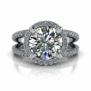 Round 1.35 Ct Real Diamond Wedding Ring For Women Solid 18k White Gold Size 8 9