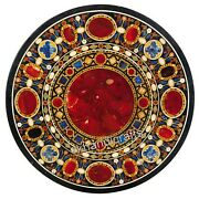 Carnelian Stone Inlaid Living Room Table Top Marble Dining Table Top 42 Inches