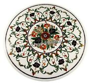 Round Marble Office Table Top Inlay Floral Pattern Dining Table For Home 36 Inch