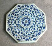Lapis Lazuli Stone Inlaid Patio Table Top Marble Coffee Table For Home 30 Inches