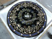 Black Marble Hallway Table Top With Antique Work Dining Table For Home 40 Inches