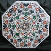 Marble Coffee Table Top Inlay Center Table With Shiny Gemstones Work 30 Inches