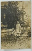 Rppc Adorable Girl With Antique Doll Akron Oh To Caleb Family Ill Postcard 019