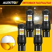 4x 7443 7444 Led Turn Signal Drl Light Bulbs White Amber Switchback Auxito Lamp