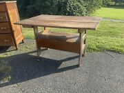Antique Bench Farm Table Paint Decorated Lift Lid 1860s Country Great Piece