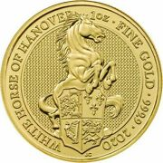 2020 1 Oz Gold Coin ✪ White Horse Of Hanover ✪ 9999 Great Britain Andpound100 ◢trusted◣