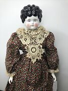 """22.5"""" Antique Porcelain German Made China Head Tilted Head Low Brow Hertwig A"""