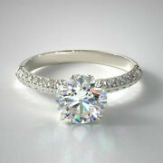 Solid 18k White Gold Ring 0.95 Ct Real Diamond Engagement Rings Size 8 For Women