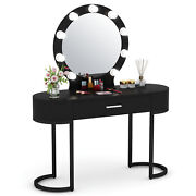 Tribesigns Vanity Makeup Table With Lighted Mirror Drawer And 2 Storage Cabinets