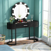 Vanity Table Set With Rounded Mirror 9 Bulbs Dresser Desk W/ Drawer And 2 Cabinets