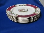 Vintage Myotts Staffordshire China Chelsea Bird 6 Dinner Plates In Red 9 3/4